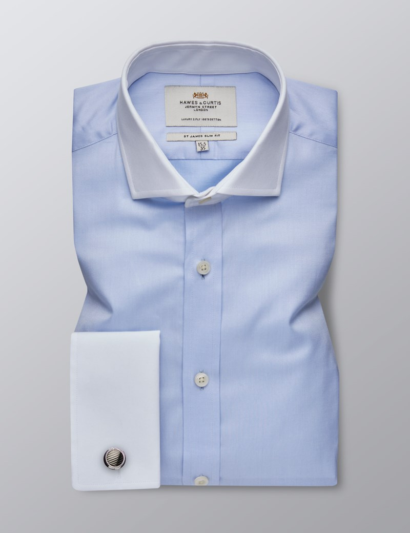 Men's Formal Blue Fine Twill Slim Fit Shirt - Double Cuff - Windsor Collar - Easy Iron