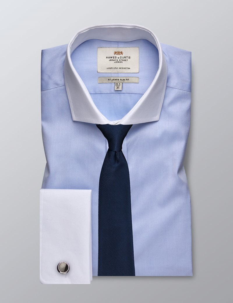 Men's Dress Blue Fine Twill Slim Fit Shirt - French Cuff - Windsor Collar - Easy Iron