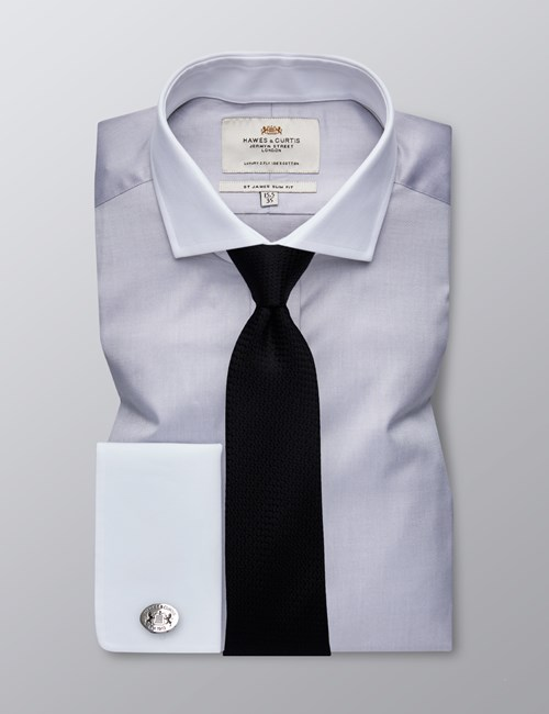 Men's Formal Grey Fine Twill Slim Fit Shirt - Double Cuff - Windsor Collar - Easy Iron