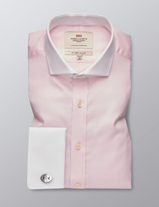 Men's Formal Pink Fine Twill Slim Fit Shirt - Double Cuff - Windsor Collar - Easy Iron