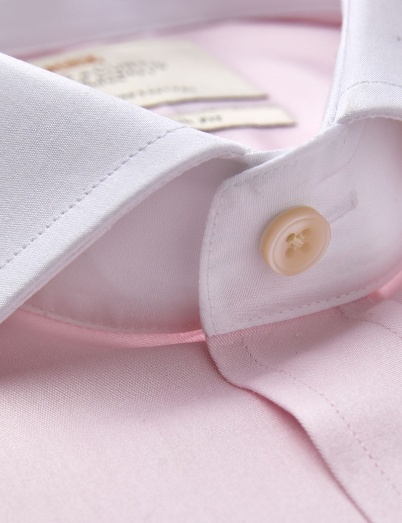 Men's Dress Pink Fine Twill Slim Fit Shirt - French Cuff - Windsor Collar - Easy Iron