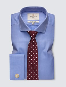 Men's Business Blue Herringbone Slim Fit Shirt with Windsor Collar and Double Cuffs - Easy Iron