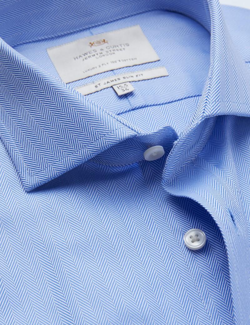 Easy Iron Blue Herringbone Slim Fit Shirt with Windsor Collar - Double Cuff