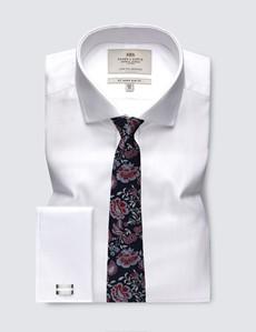 Men's Business White Herringbone Slim Fit Shirt - Windsor Collar - Double Cuff - Easy Iron