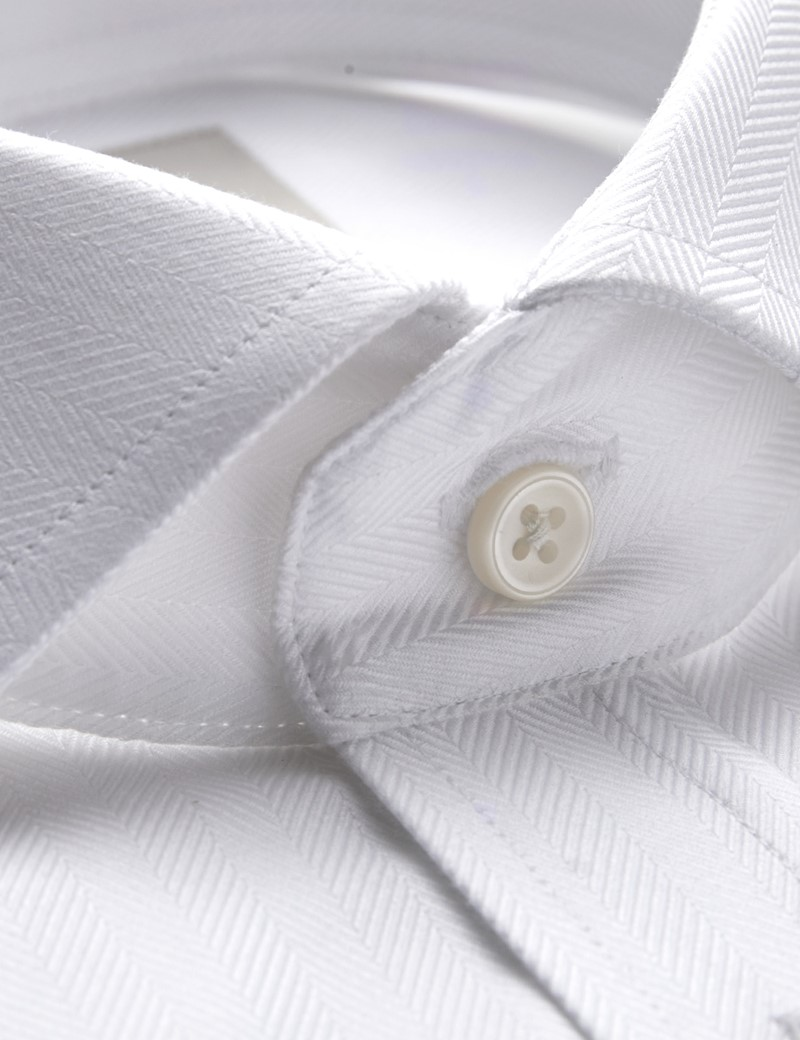 Men's Formal White Herringbone Slim Fit Shirt - Windsor Collar - Double Cuff - Easy Iron