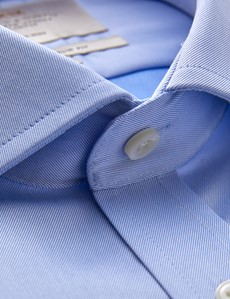 Men's Formal Blue Twill Slim Fit Shirt with Windsor Collar and Double Cuffs - Non Iron