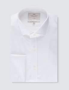 Men's Business White Twill Slim Fit Shirt - Double Cuff - Windsor Collar - Non Iron