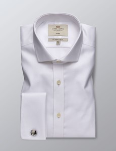 Men's Dress White Twill Slim Fit Shirt - Single Cuff - Non Iron