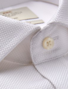 Men's Business White Fabric Interest Slim Fit Shirt - Double Cuff - Non Iron