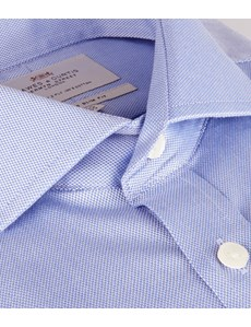 Men's Business Blue Pique Slim Fit Shirt - Windsor Collar - Double Cuff - Easy Iron