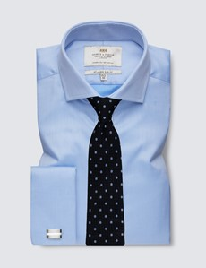 Men's Dress Blue Pique Slim Fit Shirt - Windsor Collar - French Cuff - Easy Iron