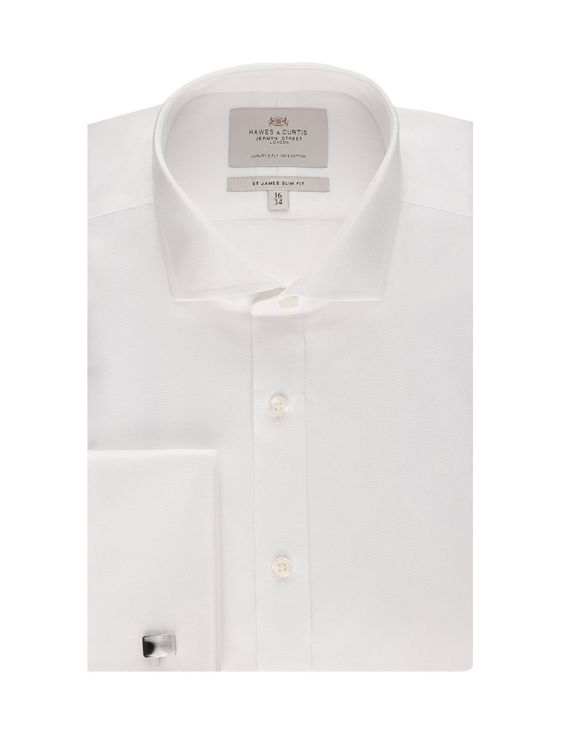 Men's White Pique Slim Fit Shirt - Windsor Collar - Double Cuff - Easy Iron