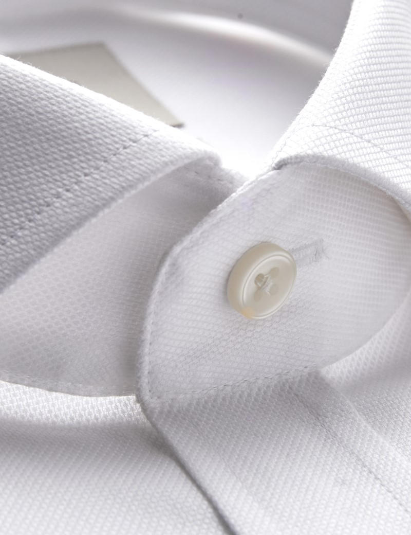 Men's White Pique Slim Fit Shirt - Windsor Collar - French Cuff - Easy Iron