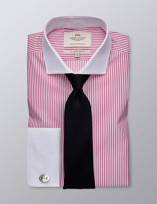 Men's Formal White & Fuchsia Stripe Slim Fit Shirt - Windsor Collar - Double Cuff - Easy Iron