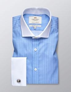 Businesshemd – Slim Fit – Manschetten – Streifendessin hellblau