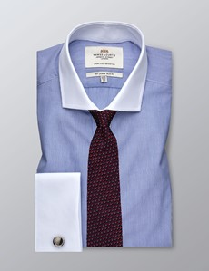 Men's Formal Blue & White Fine Stripe Slim Fit Shirt - Double Cuff - Easy Iron