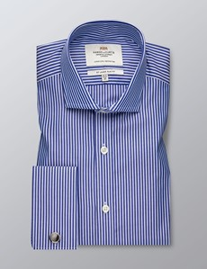 Men's Business Navy & White Tonal Stripe Slim Fit Shirt - Double Cuff - Easy Iron