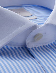 Men's Formal Blue & White Bengal Stripe Slim Fit Shirt with Windsor Collar and Double Cuffs - Non Iron