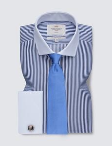 Non Iron Navy & White Bengal Stripe Slim Fit Shirt - Windsor Collar - Double Cuffs
