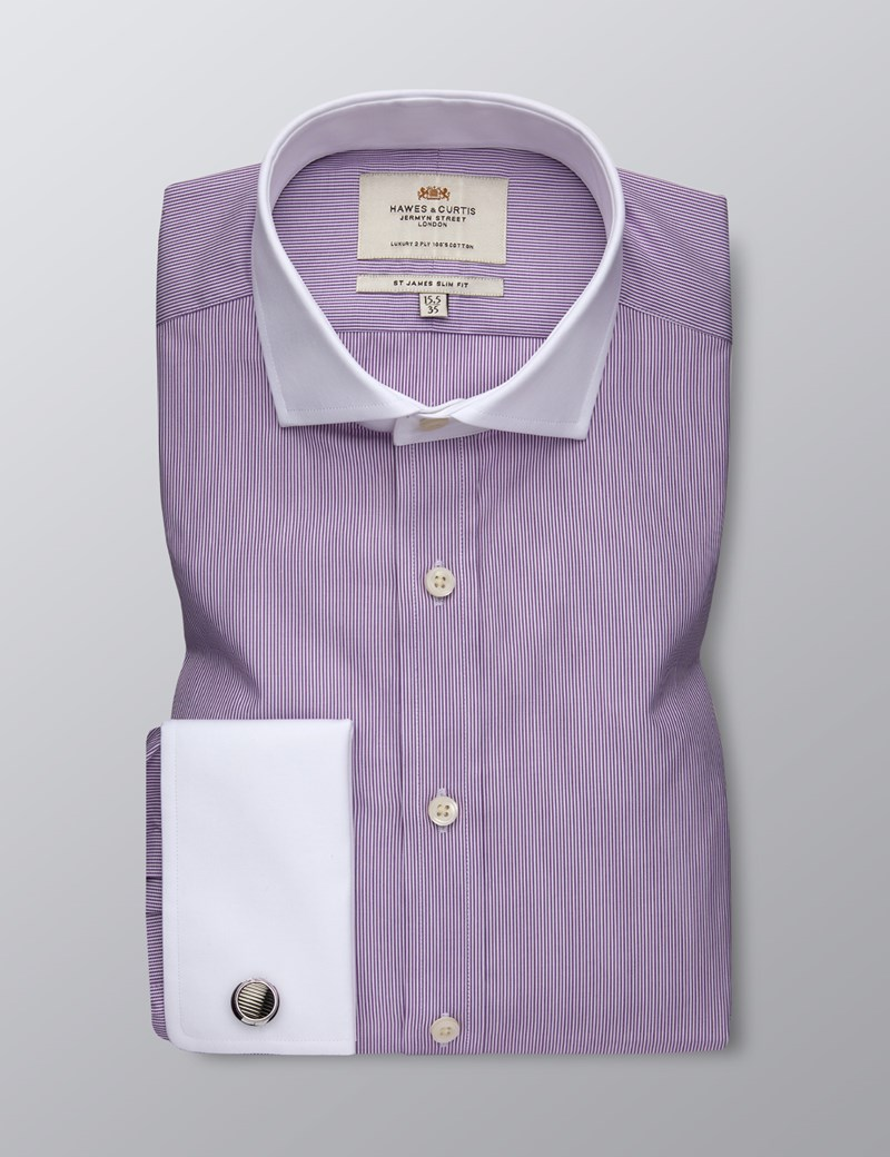 Men's Formal Purple & White Fine Stripe Slim Fit Shirt - Double Cuff -  Windsor Collar - Easy Iron