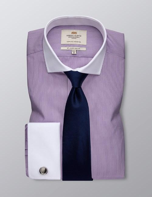 Men's Formal Purple & White Fine Stripe Slim Fit Shirt - Double Cuff -  Windsor Collar - Easy Iron
