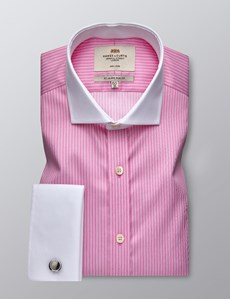 Men's Formal Pink & White Bi Colour Stripe Slim Fit Shirt - Double Cuff -  Windsor Collar - Non Iron