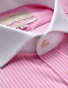 Men's Dress Pink & White Bi Color Stripe Slim Fit Shirt - French Cuff -  Windsor Collar - Non Iron