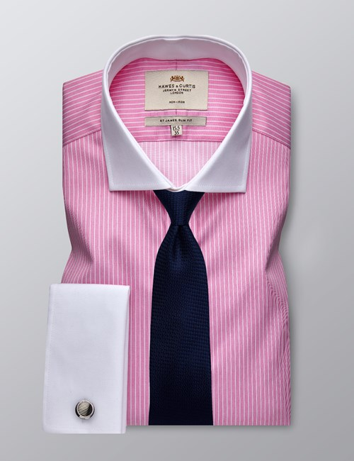 Men's Business Pink & White Bi Colour Stripe Slim Fit Shirt - Double Cuff -  Windsor Collar - Non Iron