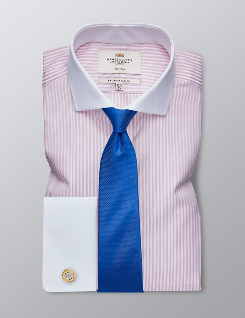 Men's Formal Light Pink & White Bengal Stripe Slim Fit Shirt - Double Cuff -  Windsor Collar - Non Iron