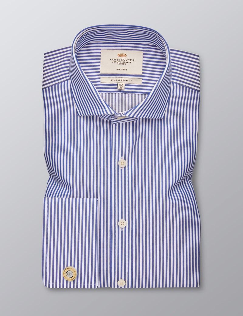 Men's Dress Navy & White Stripe Slim Fit Shirt - French Cuff -  Windsor Collar - Non Iron