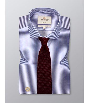 Men's Formal Navy & White Stripe Slim Fit Shirt - Double Cuff -  Windsor Collar - Non Iron