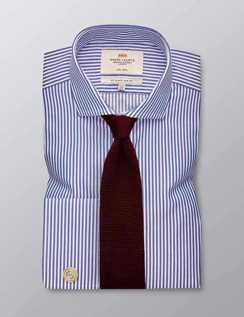 Men's Formal Navy & White Stripe Slim Fit Shirt - Double Cuff -  Windsor Collar - Non Iron