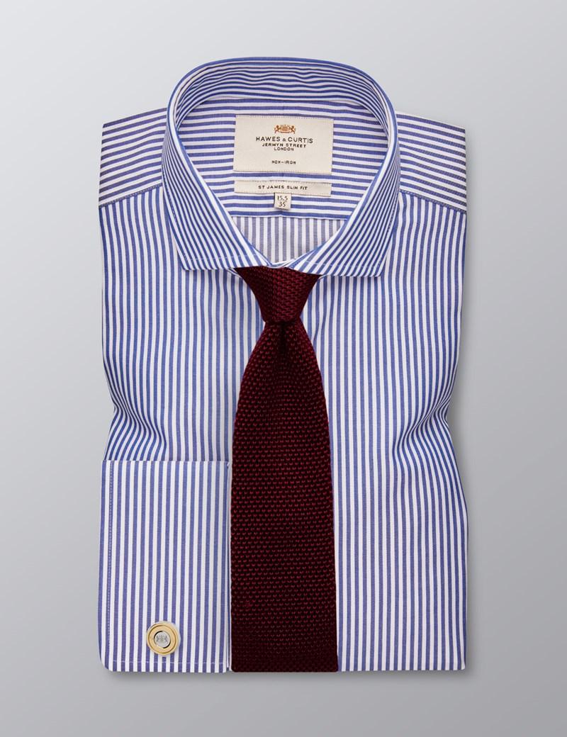 Bügelfreies Businesshemd - Slim Fit - Manschetten - Streifen dunkeblau & weiß