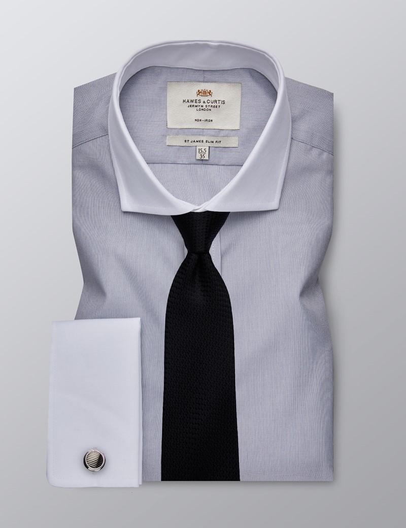 Men's Business Grey & White Fine Stripe Slim Fit Shirt - Double Cuff - Windsor Collar - Non Iron