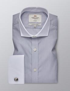 Bügelfreies Businesshemd - Slim Fit - Manschetten - Feine Streifen grau