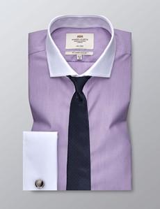 Men's Formal Lilac & White Stripe Slim Fit Shirt - Double Cuff - Windsor Collar - Non Iron