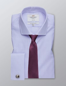 Men's Formal Blue & Pink Fine Stripe Slim Fit Shirt - Double Cuff - Windsor Collar - Non Iron