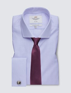 Men's Formal Blue & Pink Fine Stripe Slim Fit Shirt - Double Cuff - Windsor Collar - Non Iron