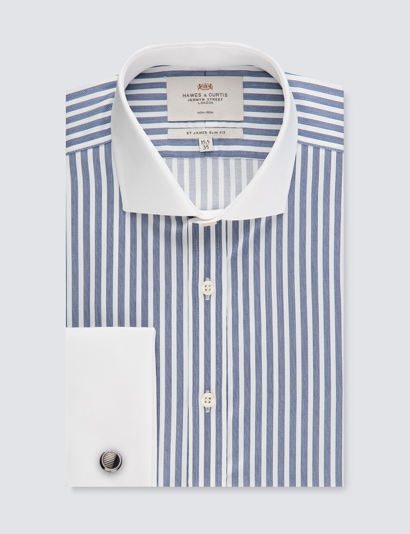 Men's Dress White & Navy Bengal Stripe Slim Fit Shirt - French Cuffs - Windsor Collar - Non Iron
