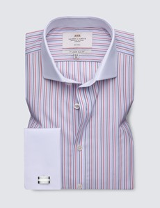 Men's Business Red & Navy Multi Stripe Slim Fit Shirt with White Collar and Cuff - Double Cuff - Non Iron