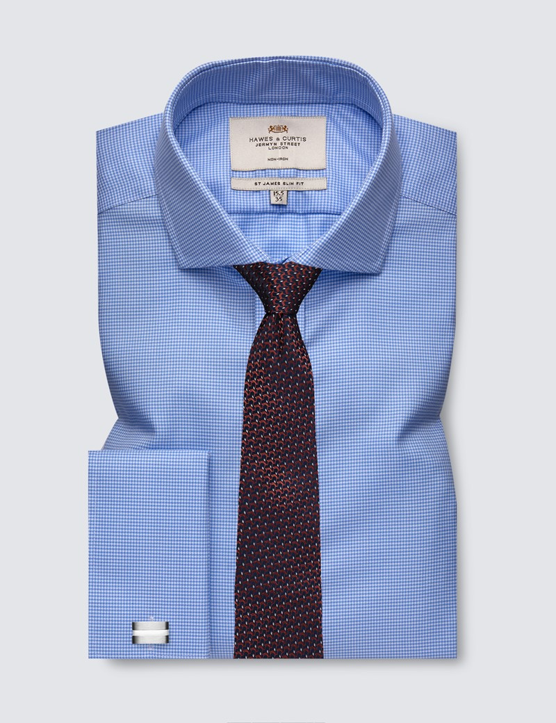 Men's Formal Blue & White Dogstooth Slim Fit Shirt with Windsor Collar and Double Cuffs - Non Iron