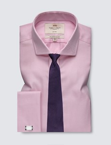 Men's Business Pink & White Dogstooth Slim Fit Shirt with Windsor Collar and Double Cuffs - Non Iron