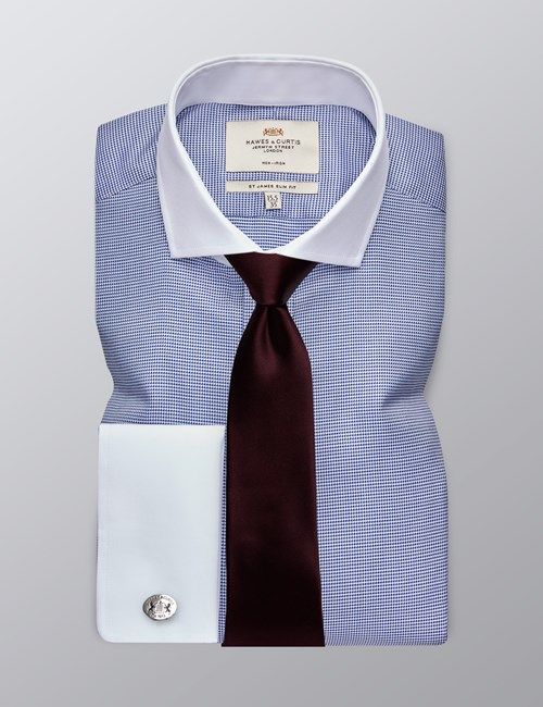 Men's Formal Navy Dobby Slim Fit Shirt - Double Cuff - Windsor Collar - Non Iron