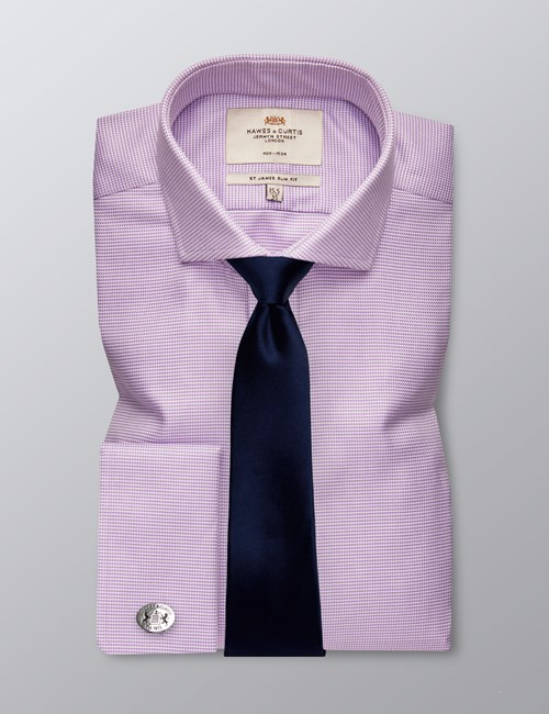 Men's Dress Lilac & White Dogstooth Slim Fit Shirt - French Cuff - Windsor Collar - Non Iron