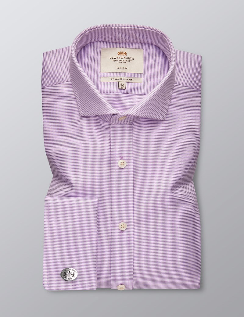 Men's Formal Lilac & White Dogstooth Slim Fit Shirt - Double Cuff - Windsor Collar - Non Iron