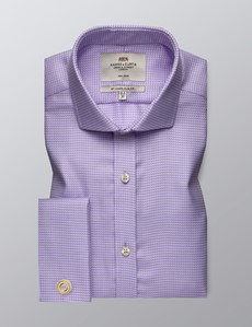 Men's Dress Lilac & White Dobby Slim Fit Shirt - French Cuff - Windsor Collar - Non Iron