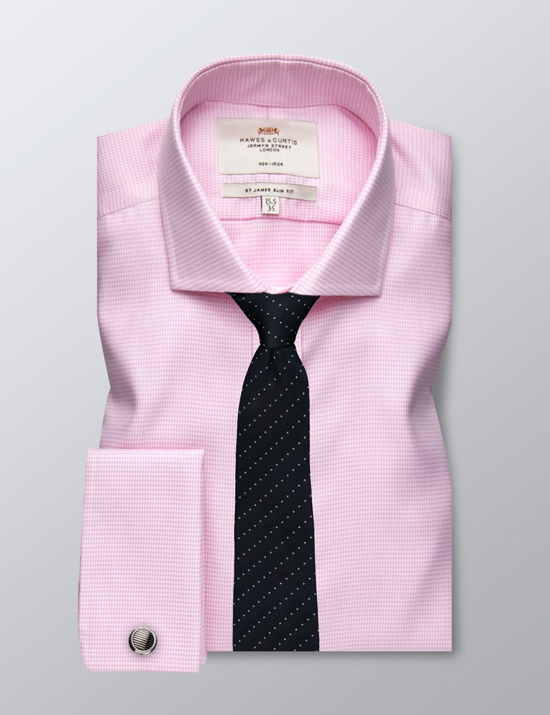 Men's Business Pink Dogtooth Check Slim Fit Shirt - Double Cuff - Windsor Collar - Non Iron