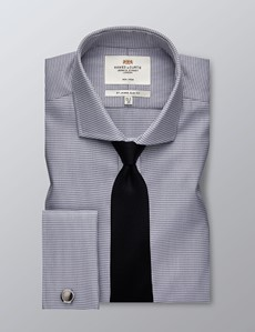 Men's Dress Grey Dogstooth Slim Fit Shirt - French Cuff - Windsor Collar - Non Iron