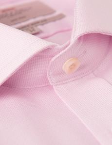 Men's Business Pink Dobby Slim Fit Shirt - Double Cuff - Windsor Collar - Non Iron