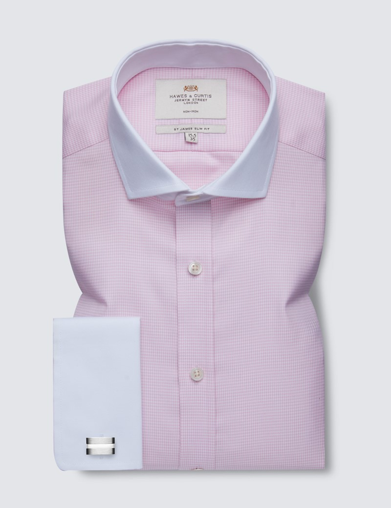 Non Iron Pink & White Dogstooth Slim Fit Shirt - Windsor Collar - Double Cuffs